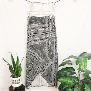 Anthro. Maeve black/white printed faux wrap maxi